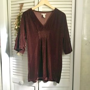 {Vintage 90's} Maroon Half Sleeve Velvet Tunic Top
